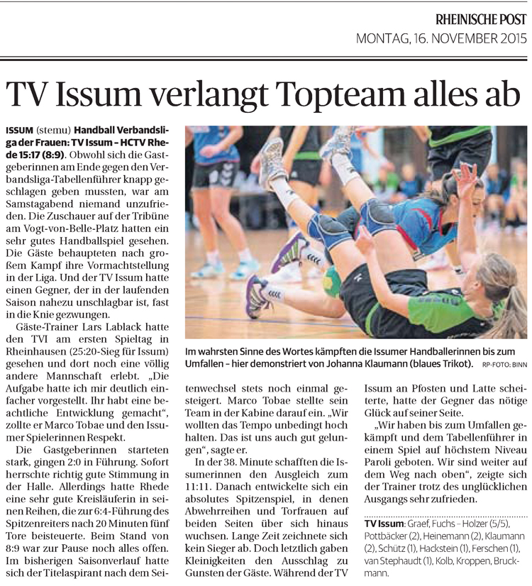 151116 TV Issum verlangt Topteam alles ab